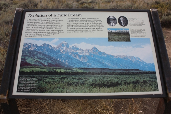 Grand Teton National Park plaque