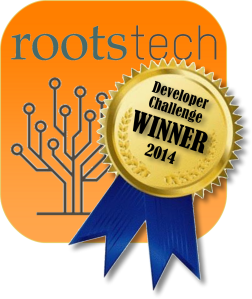RootsTech Developer Challenge Winner emblem orange box