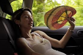 hot summer day woman with fan