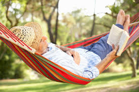 picture of hammock man reading